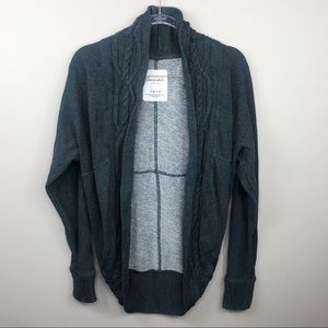 Aero Charcoal Gray Braided Cable Knit Cardigan